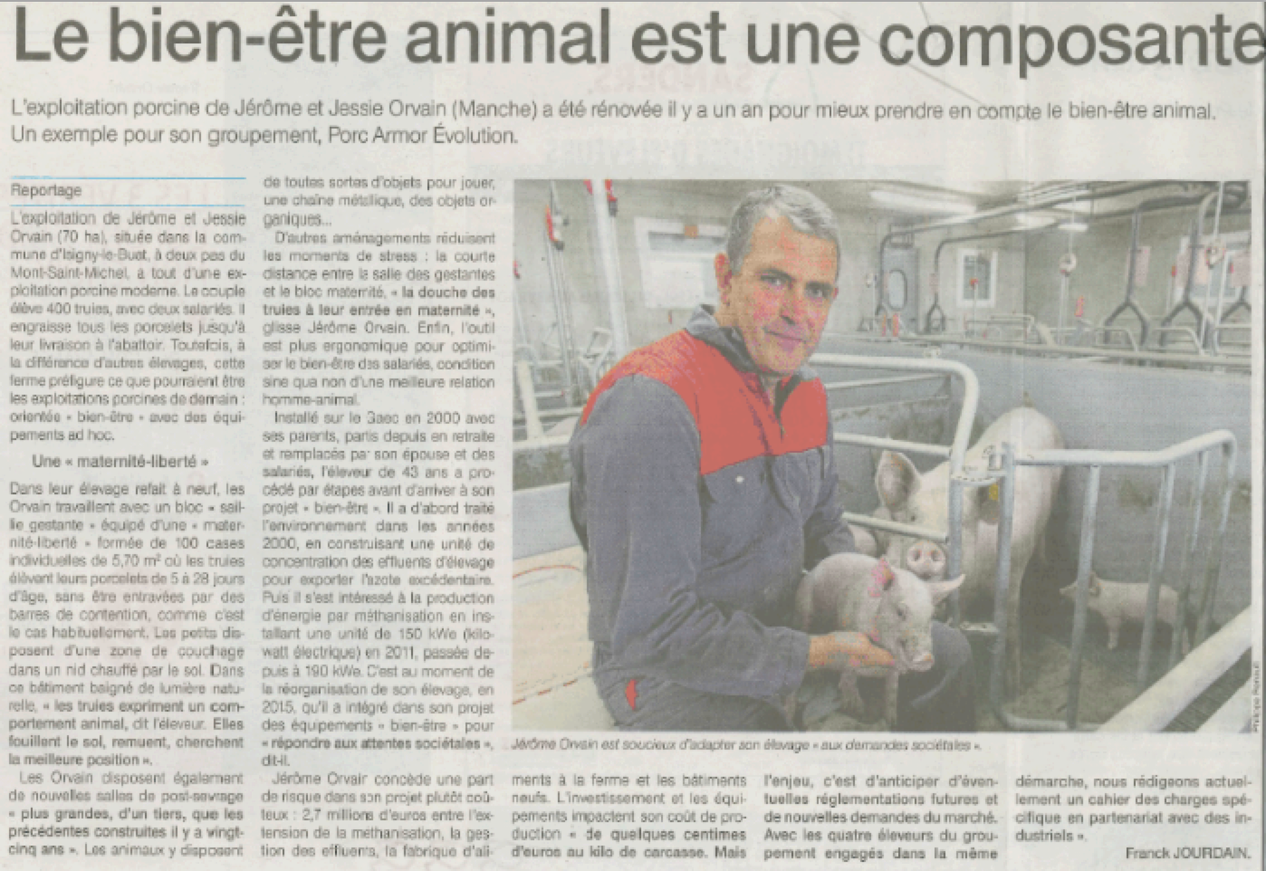 Article Ouest-France du 27 novembre 2018